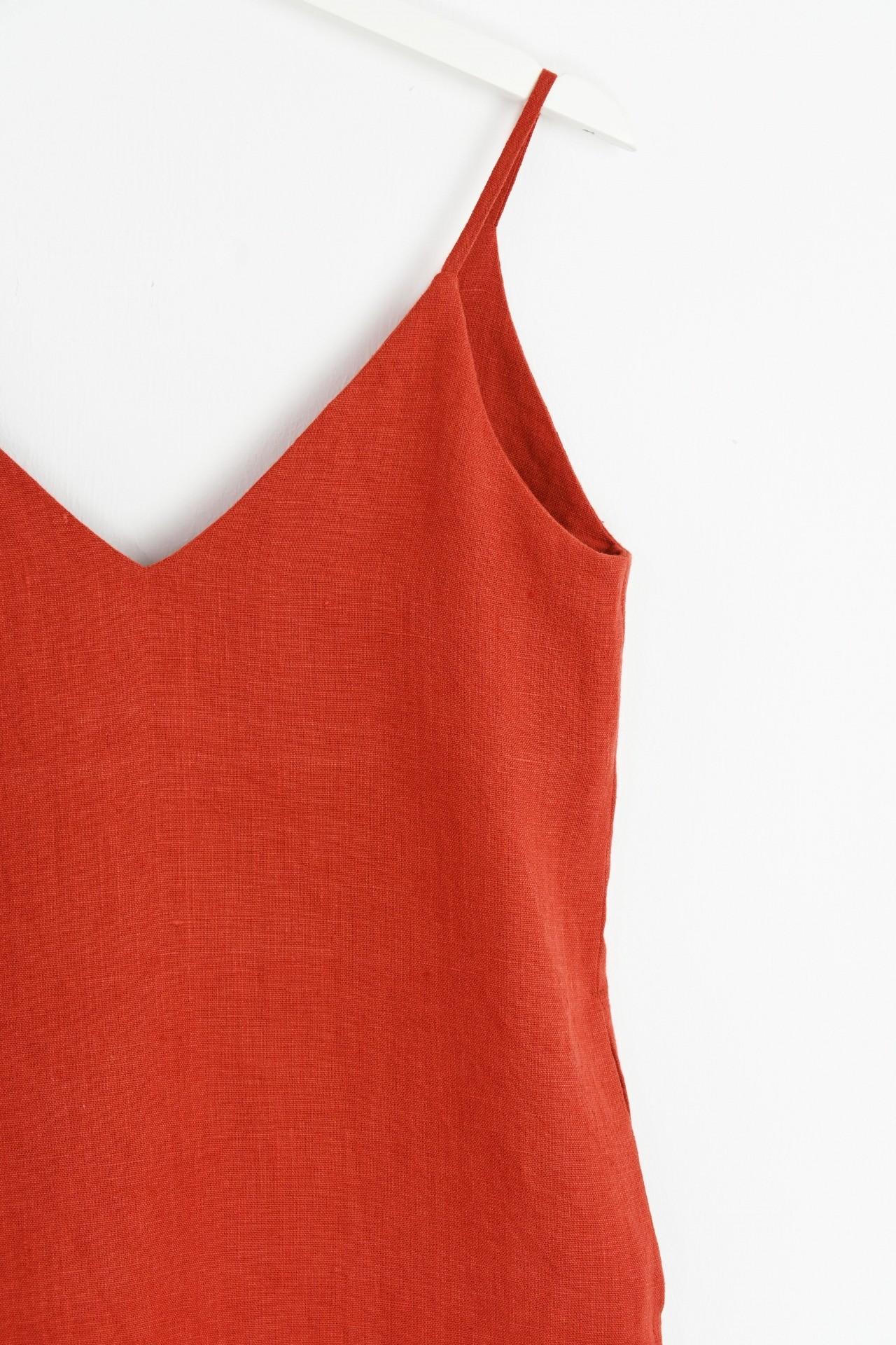 Trägerkleid rot - Detailansicht