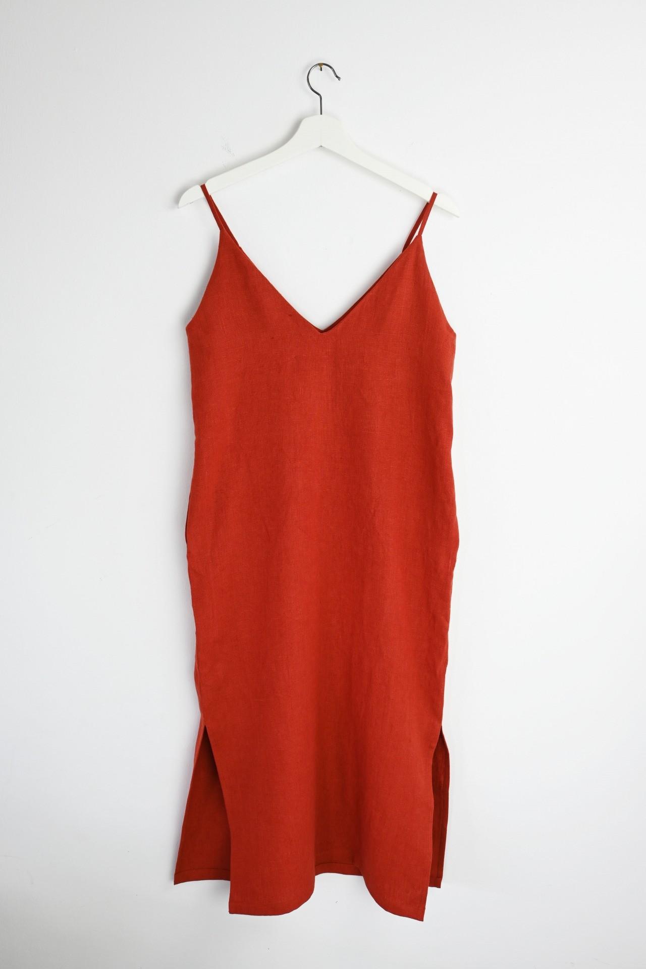 Trägerkleid rot - Rückansicht